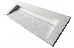Solid-S Marble wastafel solid surface wit marmer mat zonder kraangat met solid cover B120xD45xH8 1208953454